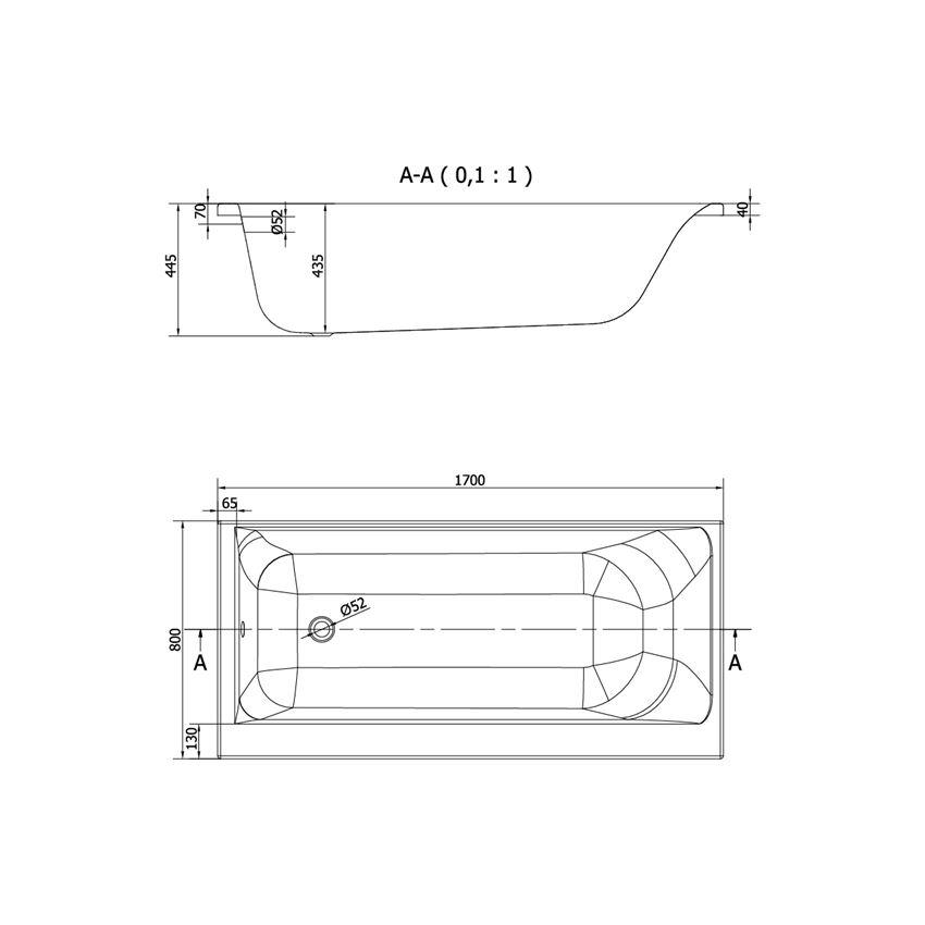 Wanna prawostronna 170x80 cm Cersanit Smart rysunek techniczny