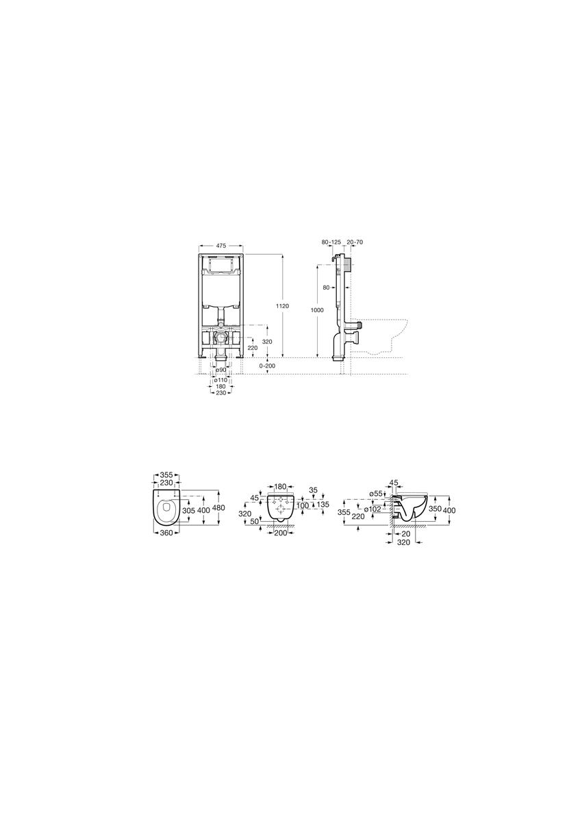 Zestaw podtynkowy Duplo One + miska WC podwieszana Compacto Rimless z deską Slim Roca Meridian rysunek