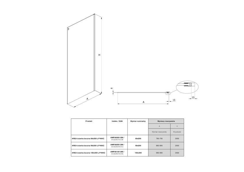 Ścianka boczna L/P z powłoką MaxiClean Roca Area rysunek techniczny
