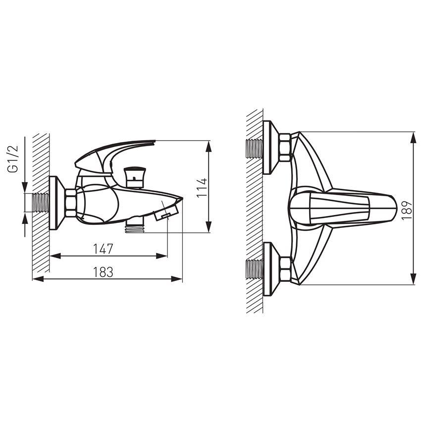 Bateria wannowa ścienna Ferro Metalia 57 rysunek techniczny