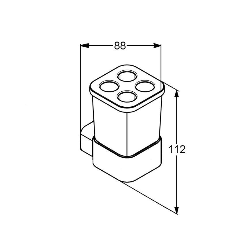 Uchwyt ze szklanką Kludi E2 rysunek techniczny