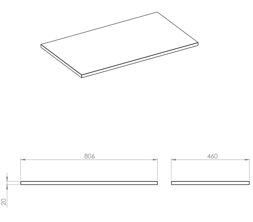 Blat naszafkowy pełny 80 cm Elita ElitStone rysunek