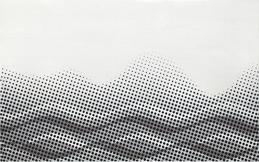 Płytka dekoracyjna 25x40 cm Cersanit Negra white inserto waves