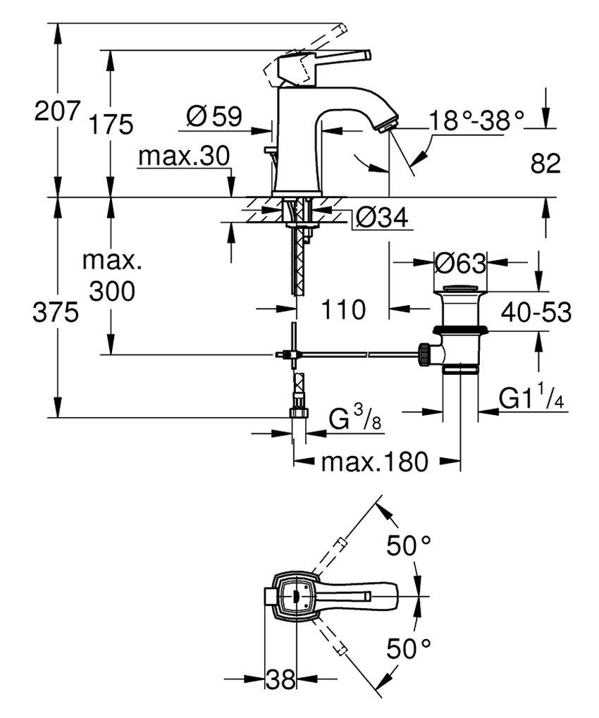 Bateria umywalkowa rozmiar M Grohe Grandera rysunek techniczny