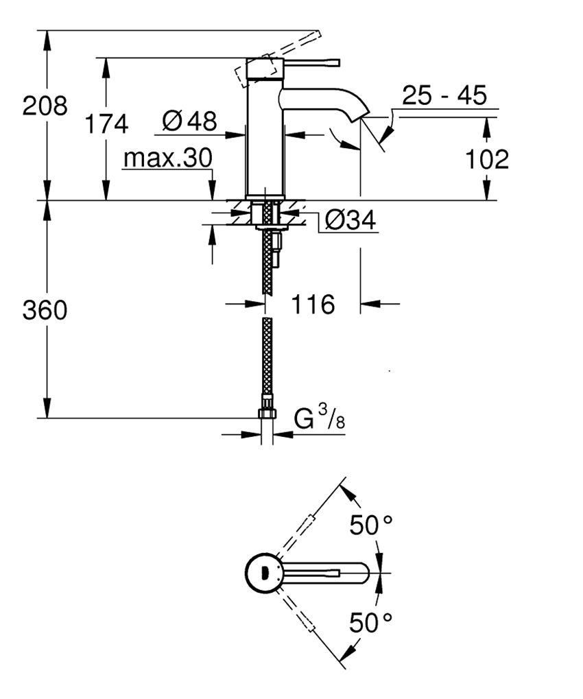 Bateria umywalkowa rozmiar S brushed warm sunset 17,4 cm Grohe Essence rysunek techniczny