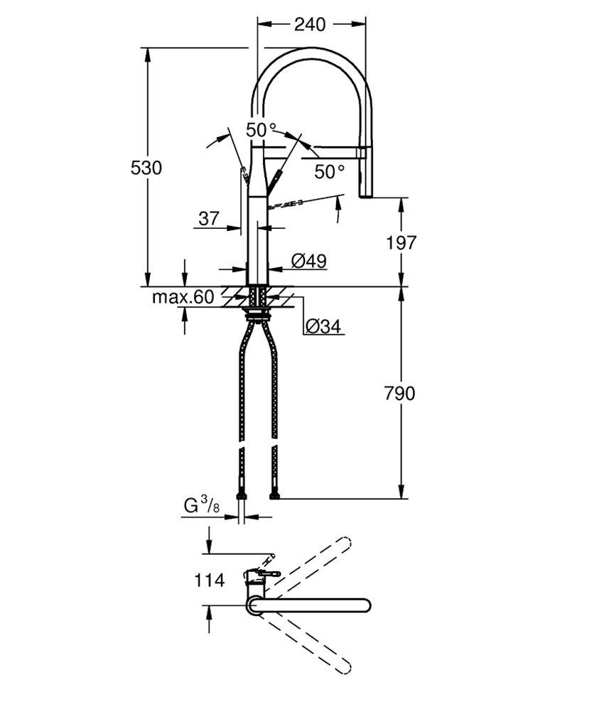 Jednouchwytowa bateria kuchenna 53 cm Grohe Essence rysunek techniczny