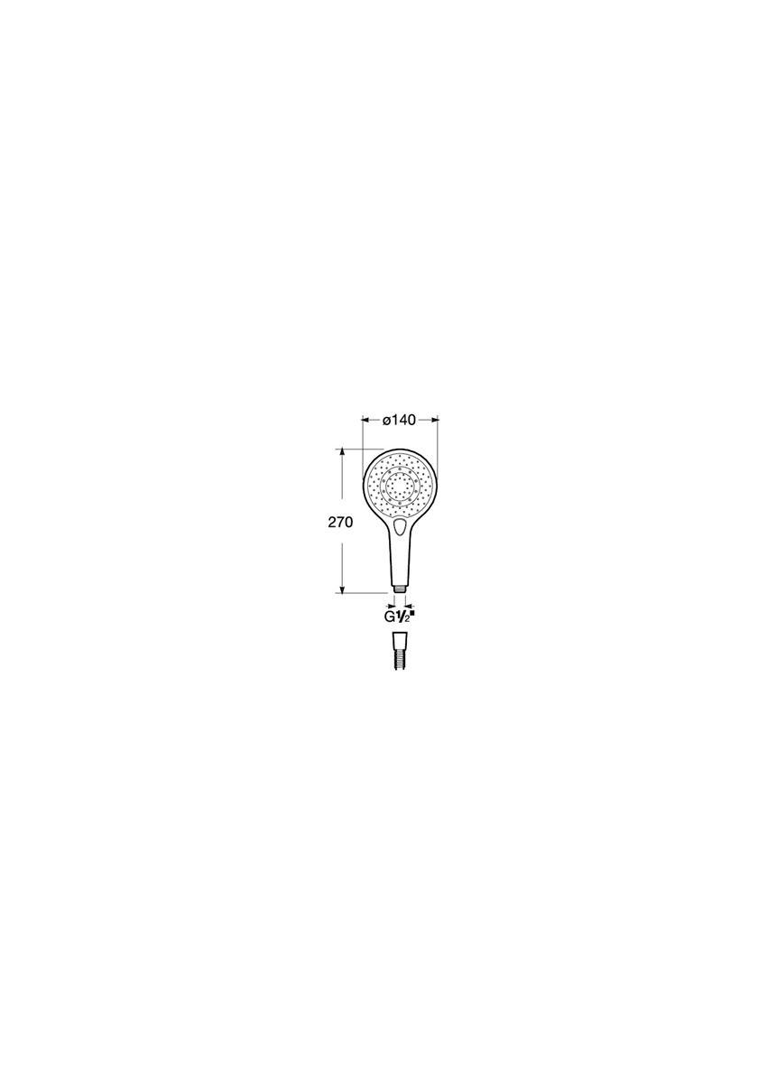 Słuchawka prysznicowa Round 140/3 Roca Plenum rysunek techniczny