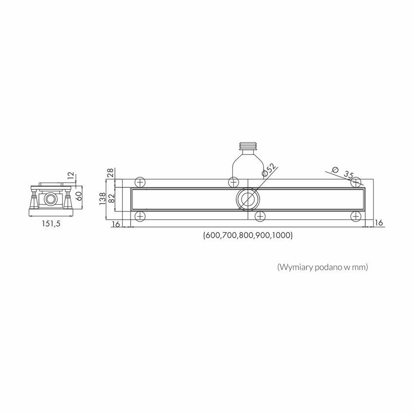 Odpływ liniowy Schedpol Base-Low rysunek techniczny
