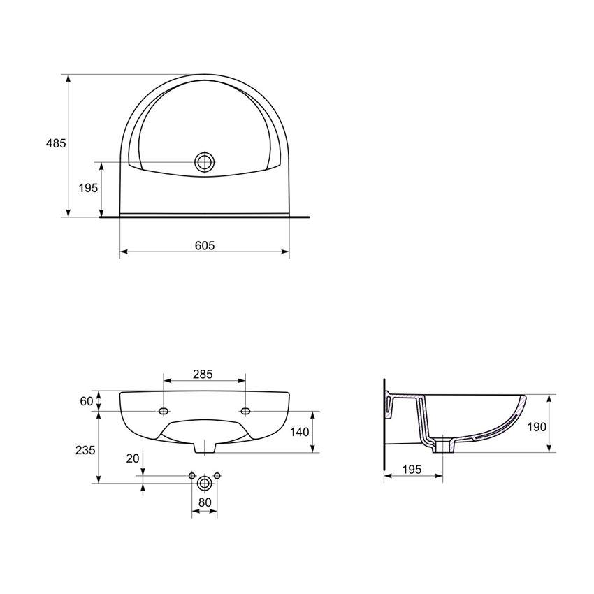 Umywalka wisząca 60 cm bez otworu Cersanit President rysunek techniczny