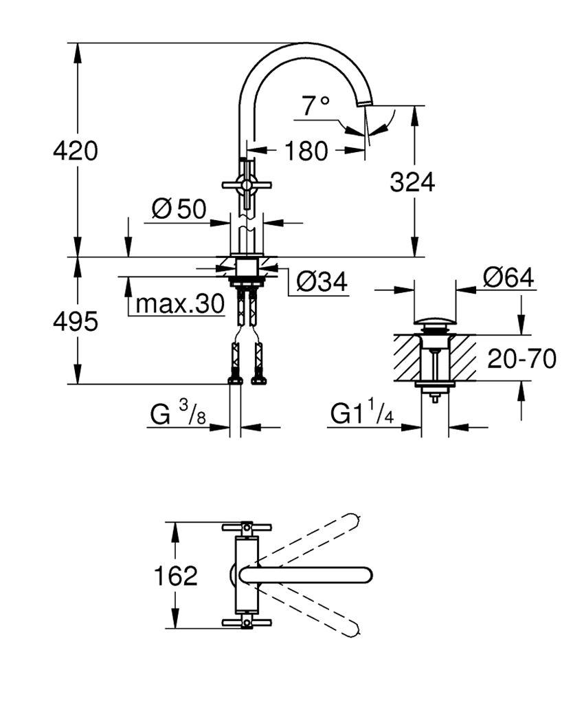 Bateria umywalkowa rozmiar XL 42 cm Grohe Atrio rysunek techniczny
