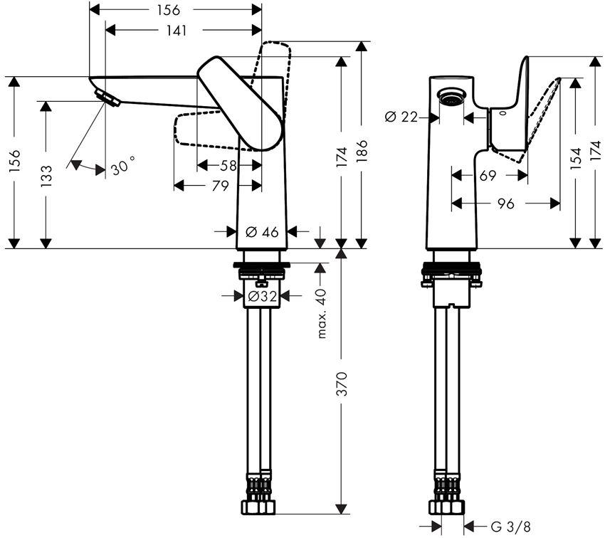 Jednouchwytowa bateria umywalkowa bez kpl. odpływowego Hansgrohe Talis E rysunek techniczny