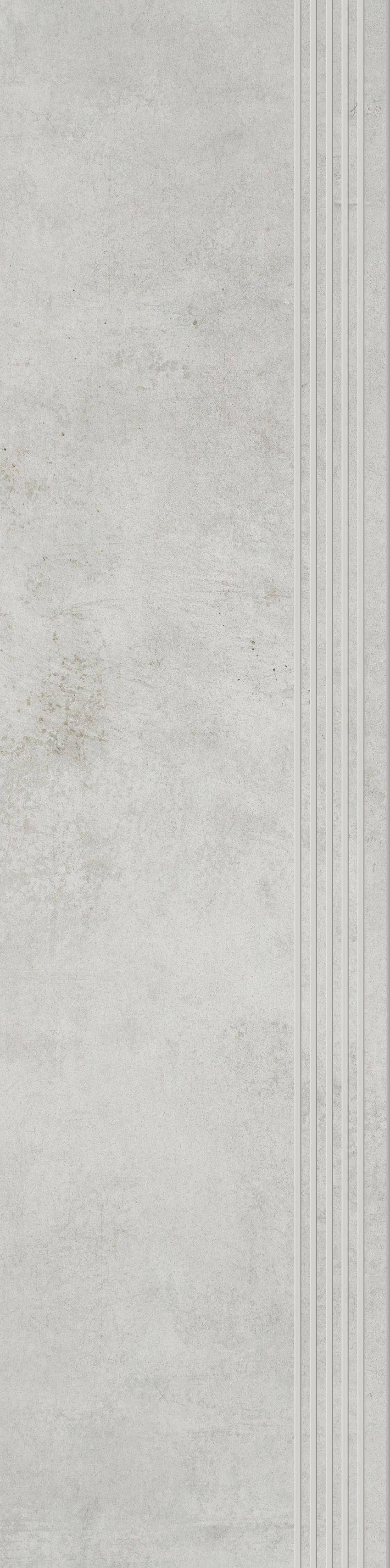 Płytka stopnicowa 29,8x119,8 cm Paradyż Scratch Bianco Stopnica Prosta Nacinana Mat.