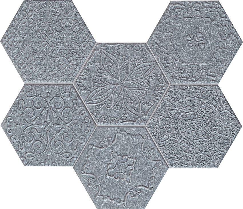 Mozaika ścienna 28,9x22,1 cm Tubądzin Elements Lace Graphite