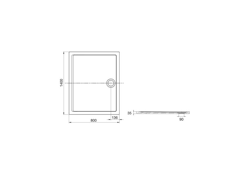 Brodzik 140x80x3,5 cm Roca Aeron rysunek techniczny
