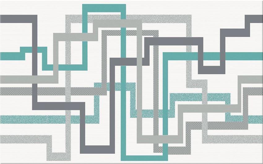 Płytka dekoracyjna 25x40 cm Cersanit Tunia white inserto maze