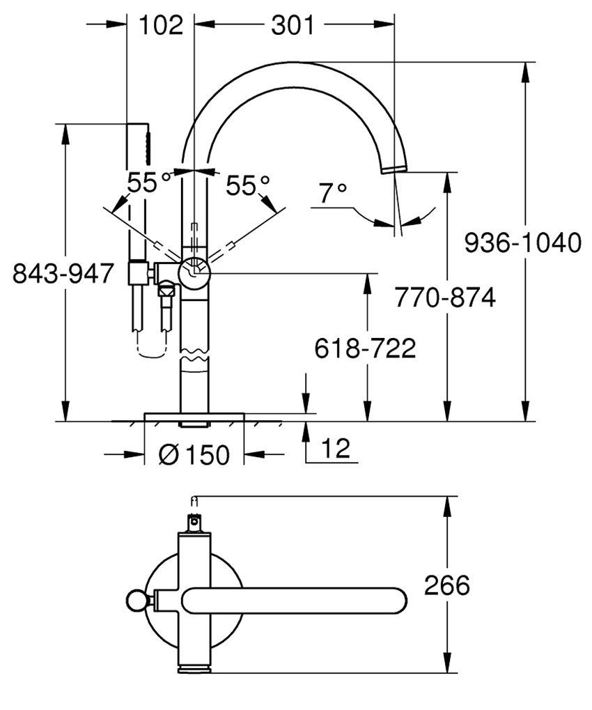 Wolnostojąca bateria wannowa Grohe Atrio rysunek techniczny