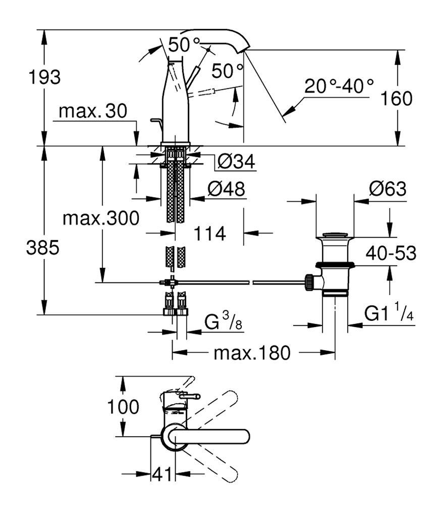 Bateria umywalkowa rozmiar M stal nierdzewna 19,3 cm Grohe Essence rysunek techniczny