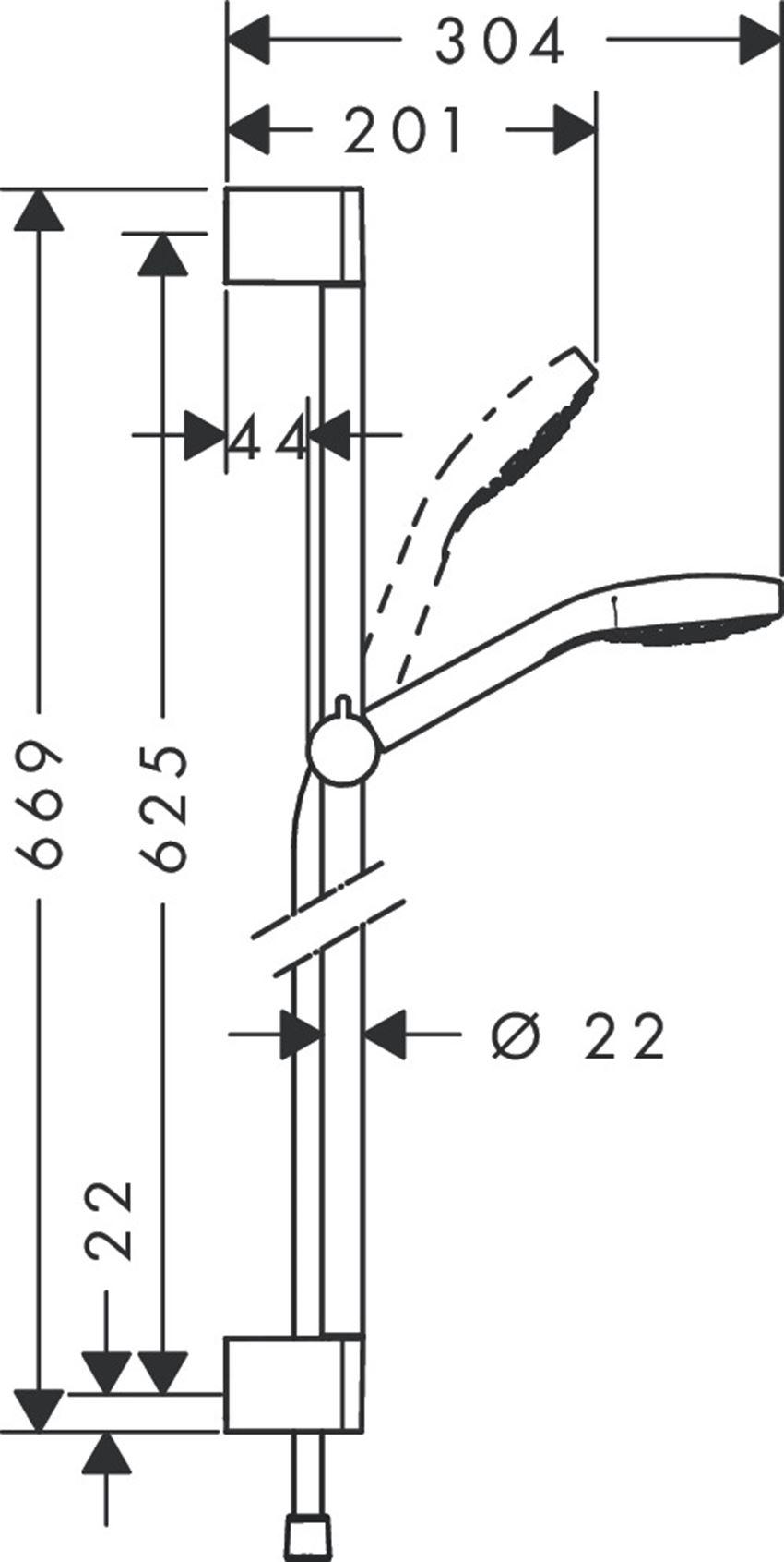 Zestaw prysznicowy Multi EcoSmart Hansgrohe Croma Select E rysunek techniczny