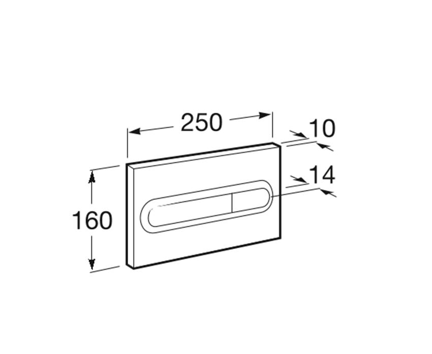 PL1 - przycisk 2-funkcyjnyRoca Stelaże podtynkowe rysunek techniczny