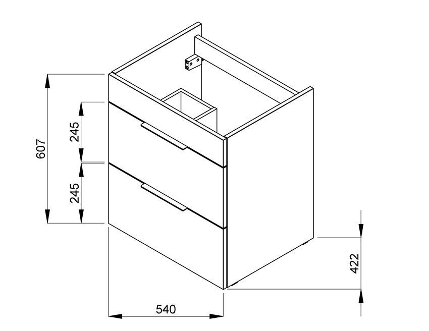 Zestaw łazienkowy Unik z 2 szufladami 64x42,2x62 cm Roca Suit rysunek techniczny