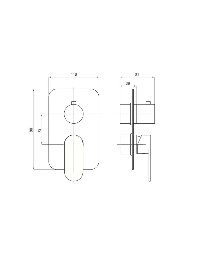 Komponent do boxa mieszaczowego Deante Alpinia rysunek techniczny