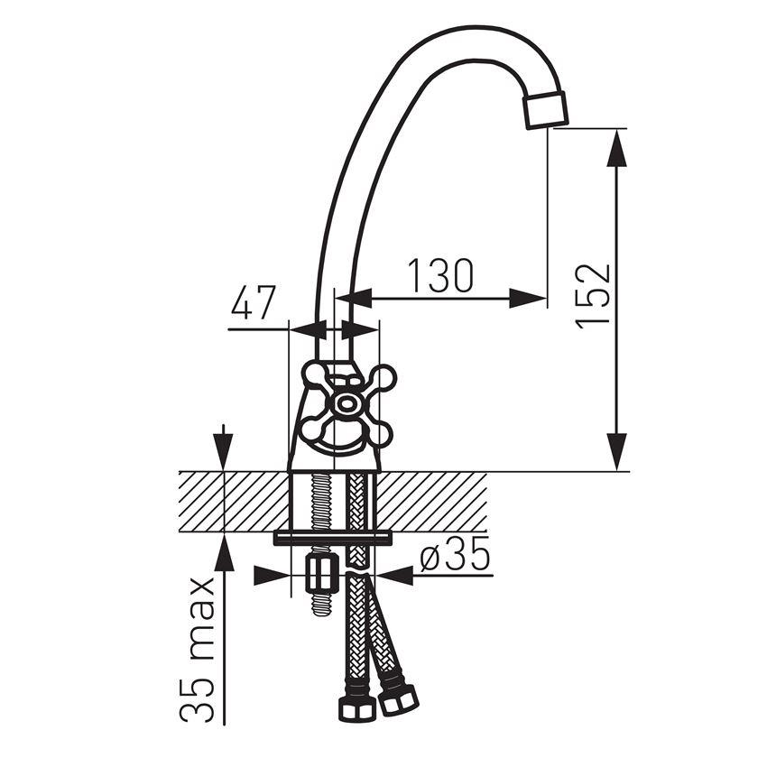 Bateria umywalkowa stojąca Ferro Retro rysunek techniczny