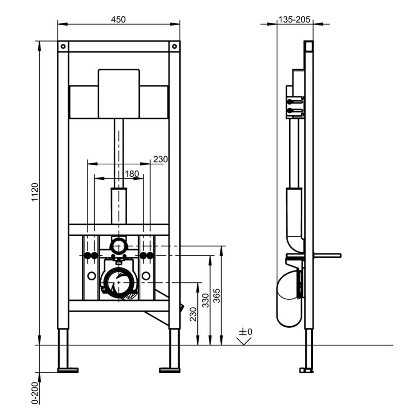 Stelaż podtynkowy do wiszących misek WC Franke Aquafix rysunek techniczny