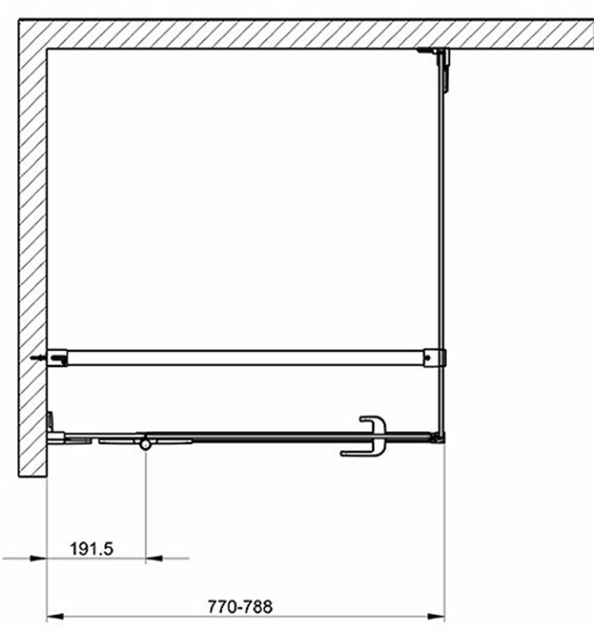 Drzwi skrzydłowe do ścianki Next 80 lewostronne Koło Next rysunek techniczny