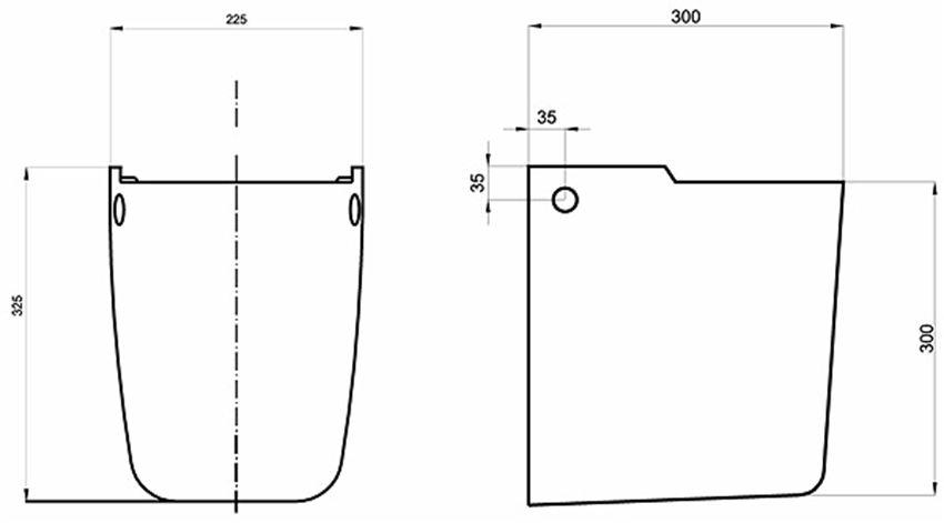 Półpostument 30x30 cm Koło Style rysunek techniczny