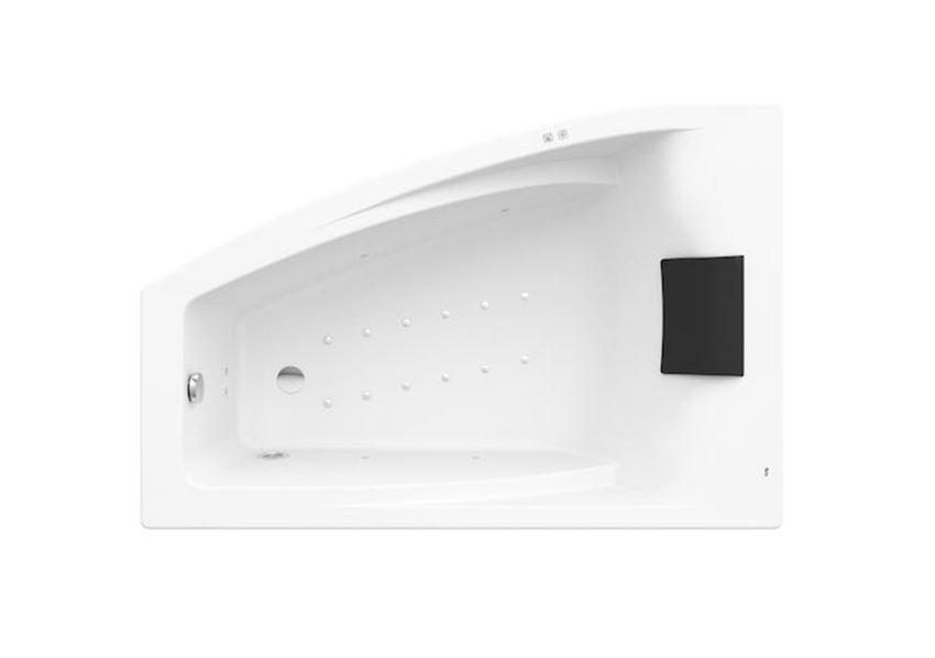 Asymetryczna narożna wanna akrylowa z hydromasażem Smart Air Plus 150x100 cm Roca Hall