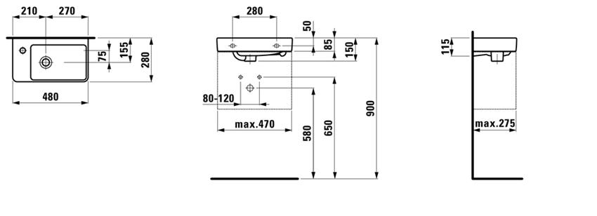 Mała umywalka półka na baterię z lewej strony 48 cm Laufen Pro S rysunek