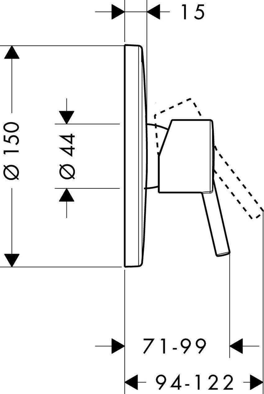 Jednouchwytowa bateria prysznicowa podtynkowa Hansgrohe Talis S rysunek techniczny