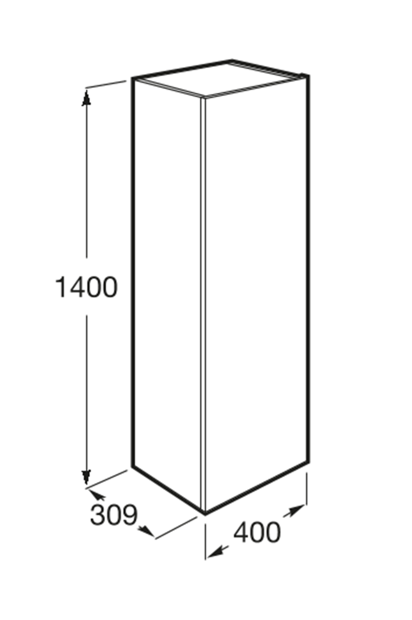 Kolumna wysoka  40x30,0x1400 cm Roca Beyond rysunek techniczny