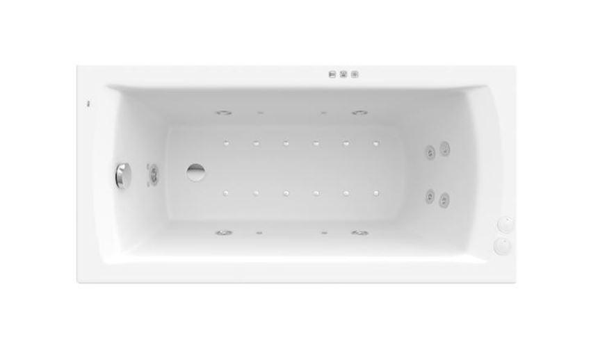 Prostokątna wanna akrylowa z hydromasażem Smart WaterAir Plus Roca Linea