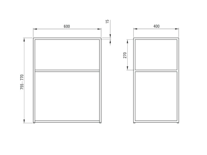 Konsola łazienkowa stojąca 60x40 cm Deante Correo rysunek