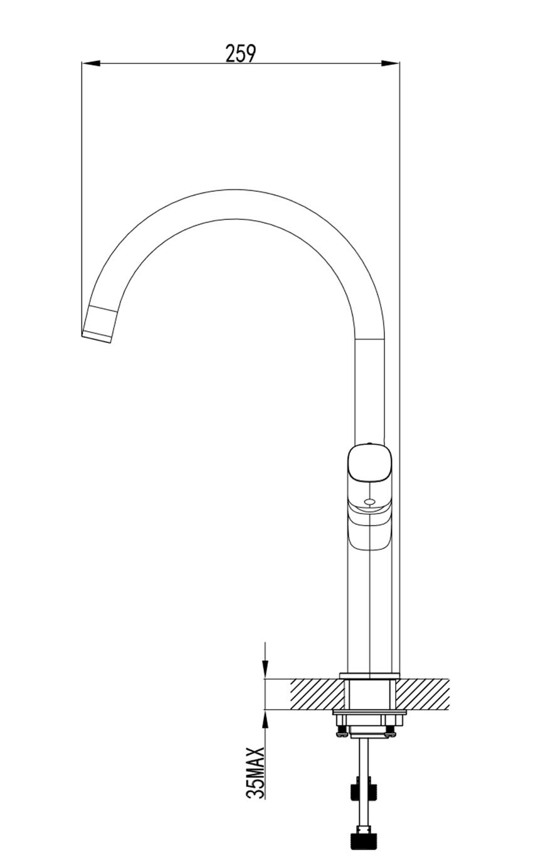 Jednouchwytowa bateria kuchenna FDesign Meandro