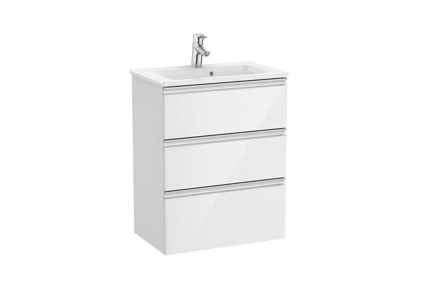Zestaw łazienkowy compacto 60 cm szafka z umywalką biały Roca Gap
