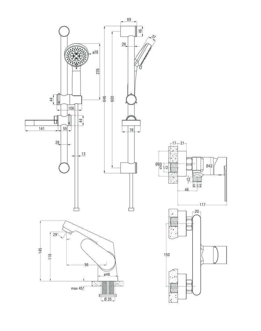 Komplet łazienkowy natryskowy 4w1 Deante Chaber rysunek techniczny