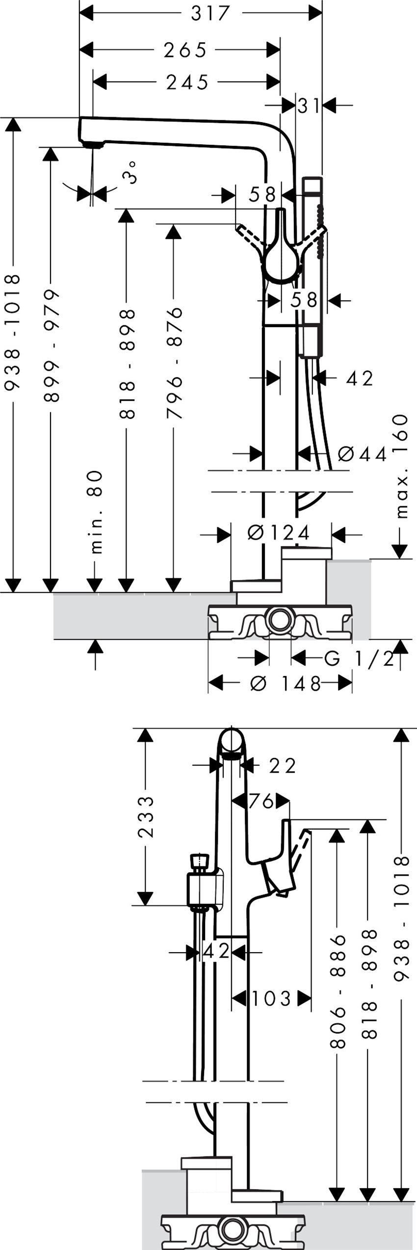 Jednouchwytowa bateria wannowa wolnostojąca Hansgrohe Talis S rysunek techniczny