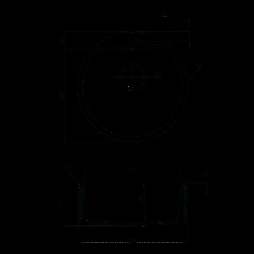 Zlewozmywak 1-komorowy bez ociekacza Deante Solis rysunek techniczny