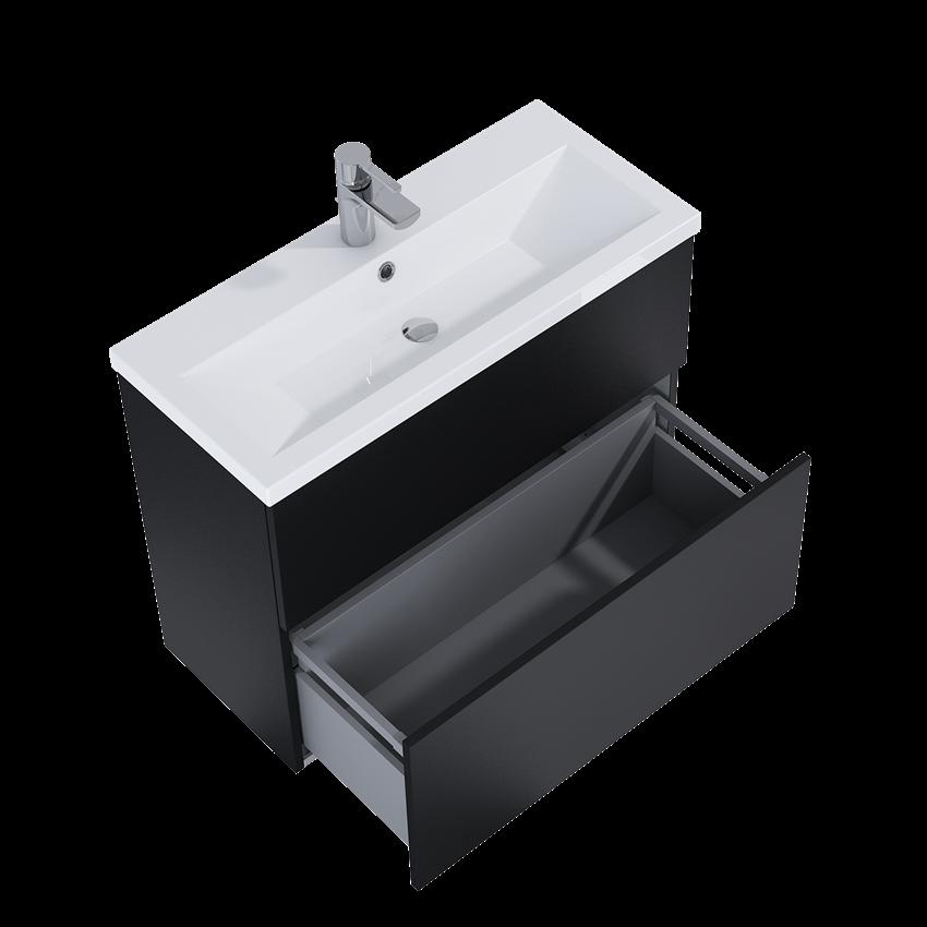 Szafka z umywalką 81x35,8x67,3 cm Elita Kido 80 Black Matt