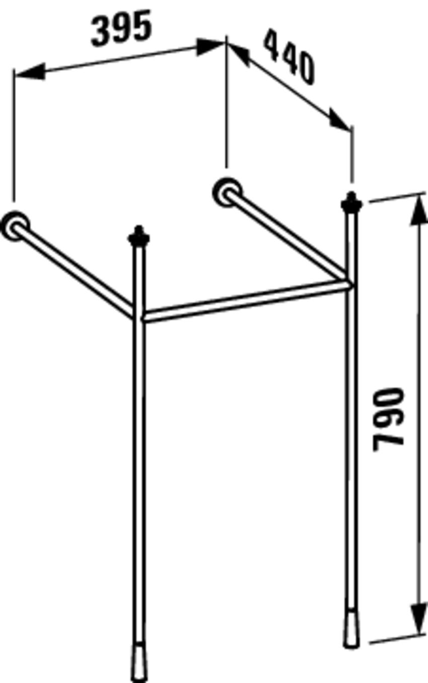 Stelaż pod umywalkę 39,5 cm Laufen Kartell rysunek techniczny