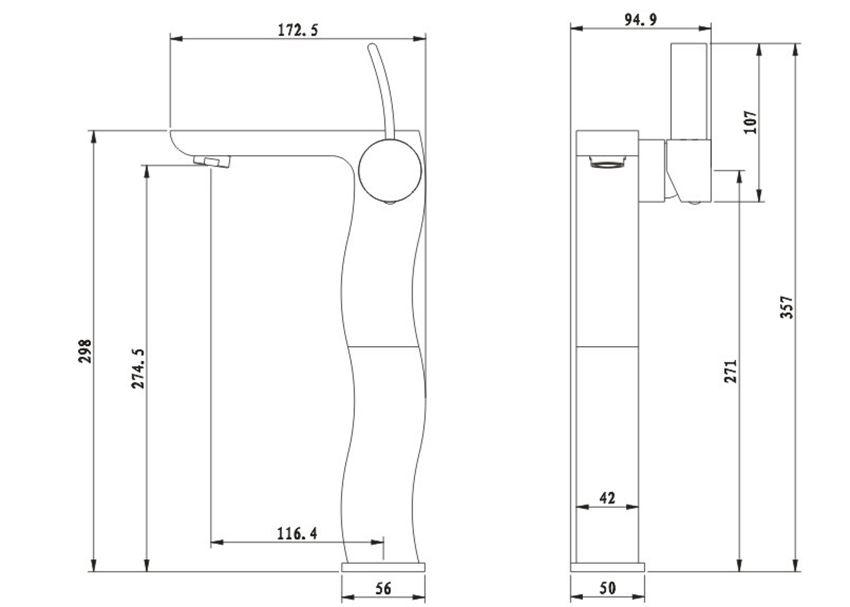 Bateria umywalkowa wysoka rysunek techniczny Omnires Swing
