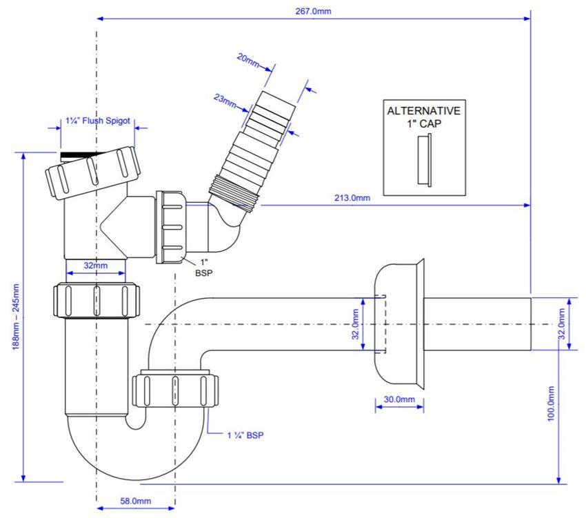 Syfon do umywalki McAlpine HC4PF-32WM rys techniczny