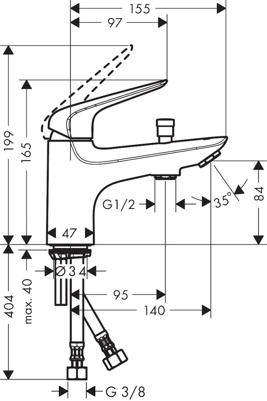 Jednouchwytowa bateria wannowa i prysznicowa Monotrou Kludi Novus rysunek techniczny