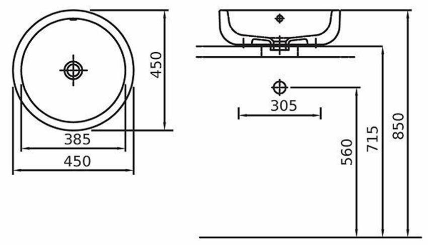 Umywalka stawiana na blat 45 cm Koło Ego rysunek techniczny