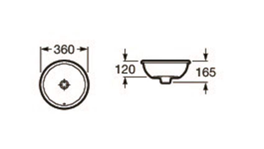 Umywalka blatowa 36x36 cm Roca Foro rysunek techniczny