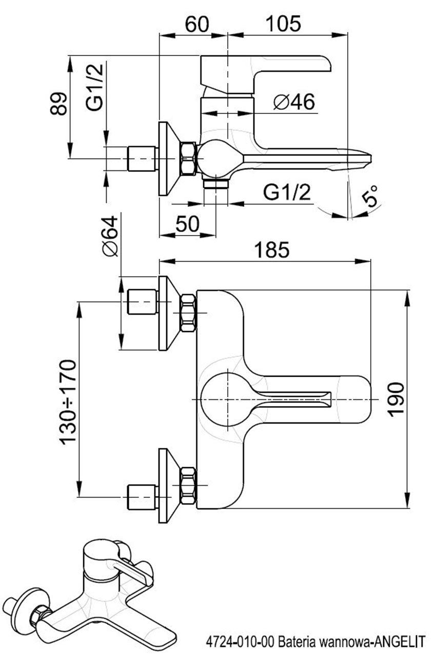 Jednouchwytowa bateria wannowa KFA Angelit rysunek techniczny