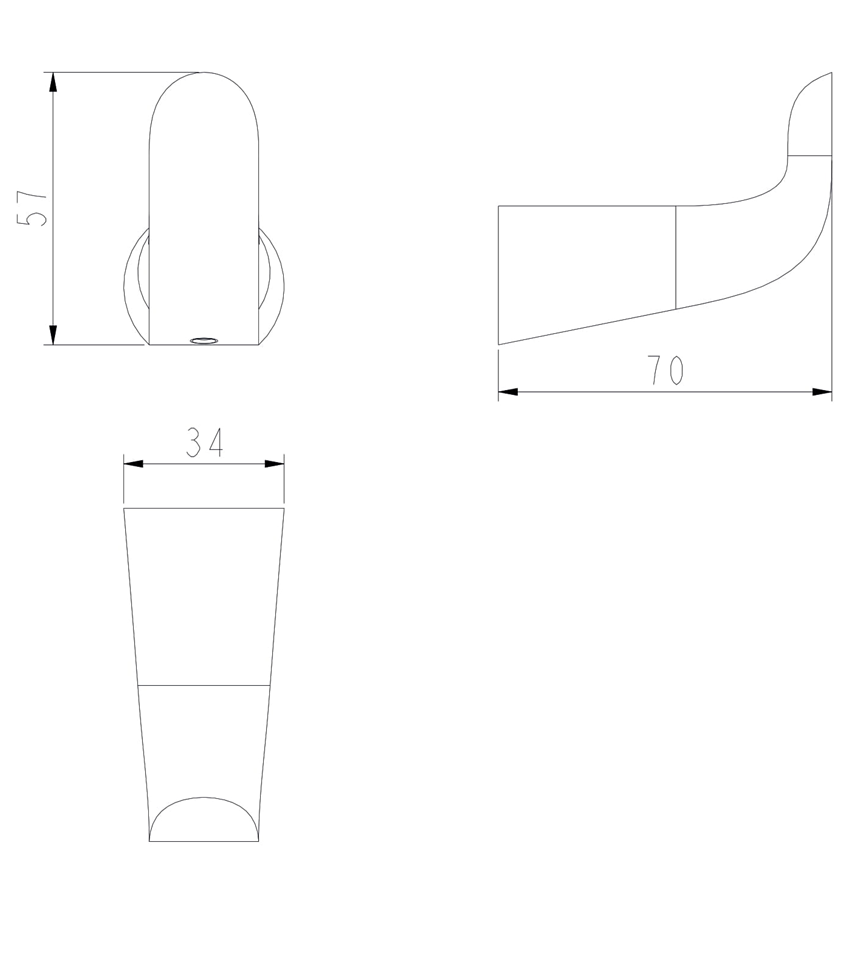 Haczyk 3,4x5,7x7 cm Omnires Saco rysunek techniczny