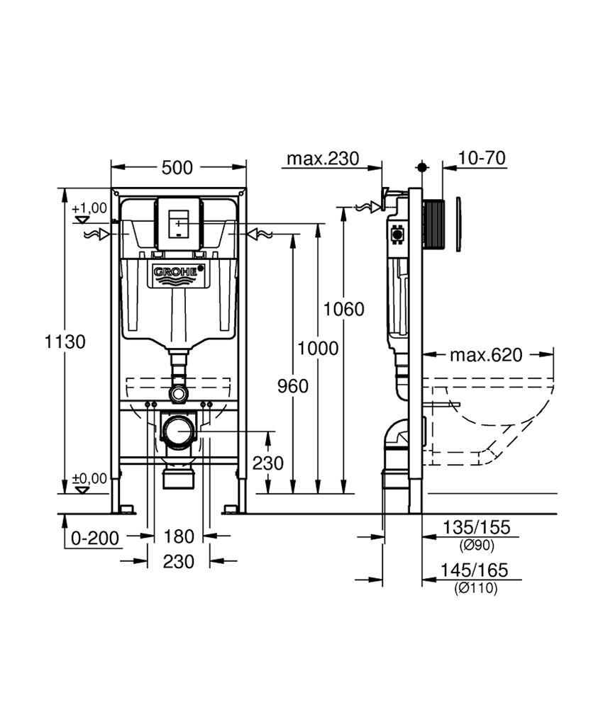 Zestaw instalacyjny SL 5 w 1 Grohe Rapid SL rysunek techniczny